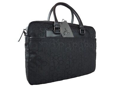 CALVIN KLEIN NEW Black Monogram Laptop Briefcase Duffle Bag W/ Dustbag RRP£130 • 69.99£