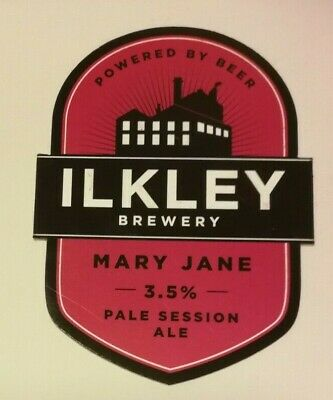 £2 • Buy Beer Pump Clip Badge Front ILKLEY Brewery MARY JANE Real Ale Yorkshire
