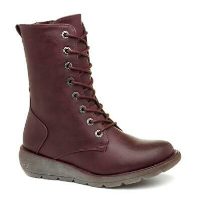 Heavenly Feet Martina Burgundy Boots With Wedge Sole Size UK 3,4,5,6,7,8 • 39.99£