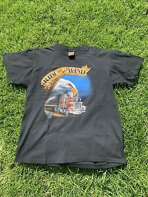 "$ CDN71.85 • Buy Vintage Trucker Shirt 3D Emblem ""Ride The Wind"" By: Truckers Only. Size Large"