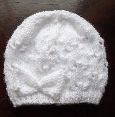 Hand Knitted White Newborn Baby Girls Hat With Matching Bow FREEPOST • 3.59£