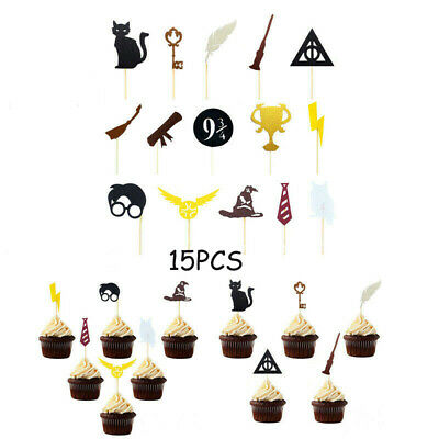 £3.98 • Buy 15Pcs Harry Potter Cake Toppers Picks Cupcake Flags Kids Birthday Party Decor UK