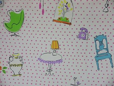 Designers Guild Tea Time Fabric Remnant Off Cut Pink Polka Dot Chair Lamp 0.4m • 5£
