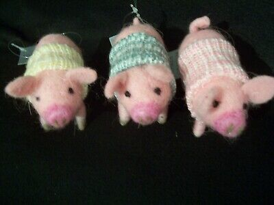 Gisela Graham Wool Pig In Knitted Sweater Stand Or Hang Decoration 3 Colours • 8.25£
