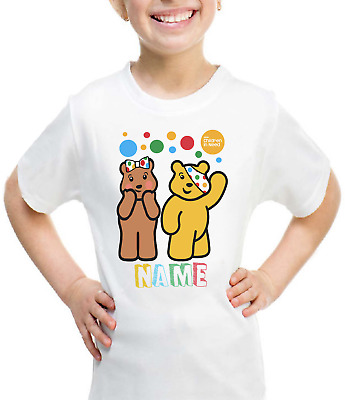 Personalised Children In Need T-shirt 2020 Pudsey & Blush Boys Girls School Top • 8.99£