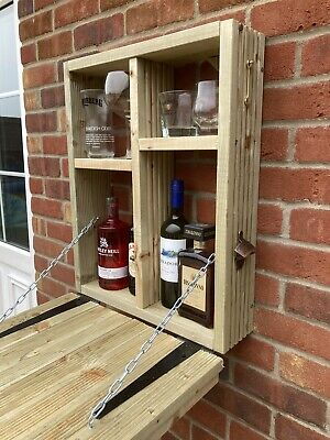 Wooden Wall Outdoor Bar Wine Beer And Gin Garden Party Home Drinks Bar. • 110£