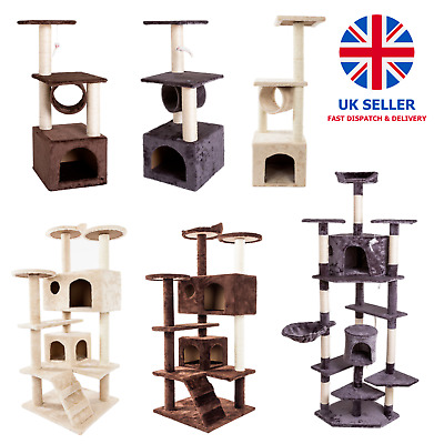 Cat Tower Tree Scratching Post Climbing Activity Centre Large Condo Play House • 24.99£