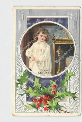 £3.62 • Buy Ppc Postcard Merry Christmas Girl Next To Fireplace Holly Silver Embossed