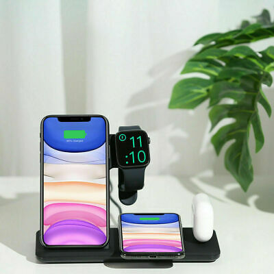 AU30.96 • Buy AU 15W Qi Fast Wireless Charger Stand Dock 4in1 For IWatch IPhone 11 Pro XS XR 8
