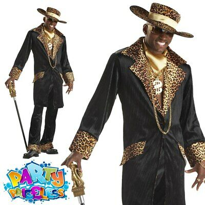 £37.99 • Buy Supa Mac Daddy Pimp Costume Mens 70s Fancy Dress Leopard Print Gangster Outfit