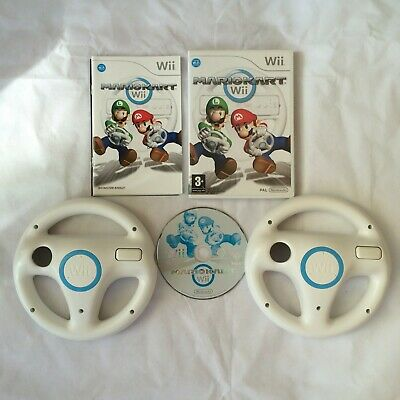 Mario Kart Nintendo Wii PAL COMPLETE With 2 CLEANED Official Wii Wheels White  • 41.99£
