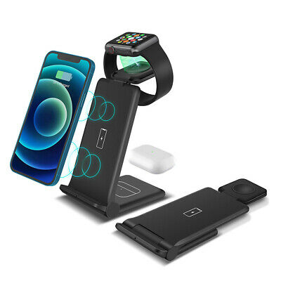 4IN1 Qi Fast Wireless Charger Station Stand Dock For IWatch IPhone 11 Pro XS X 8 • 12.95£