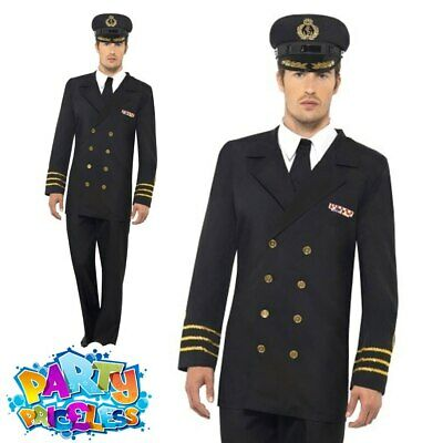 Mens 1940s WW2 Navy Officer Costume Naval Uniform Military Fancy Dress Outfit • 28.49£