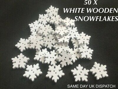 £2.99 • Buy 50 X White Wooden  Snowflakes Crafts Card Making Decorations Table Confetti