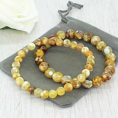 Handmade Natural Fire Agate Gemstone Stretch Bracelet & Velvet Pouch. • 4.79£