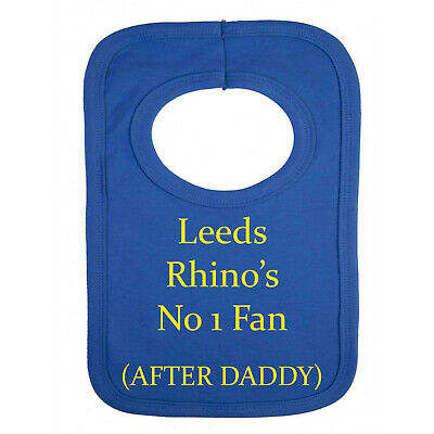 Personalised BIB - Leeds Rhino's Style-NO 1 Fan- After Daddy - Just For Fun. • 5.49£
