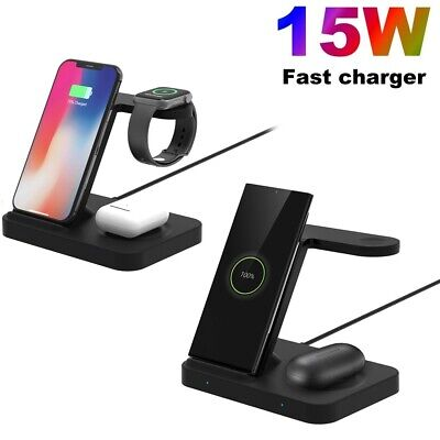 AU33.99 • Buy Qi 15W Fast Wireless Charger Dock Stand 3in1 For IWatch 6/5/4/3/2/1 IPhone 11 XS