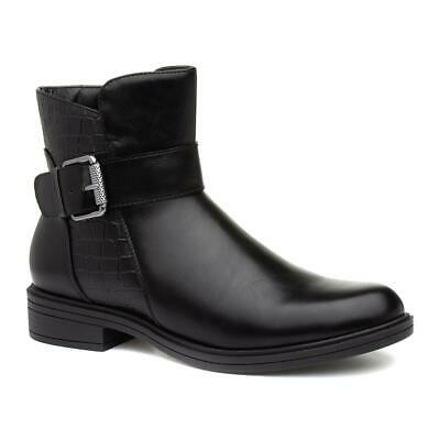 Lilley Womens Black Croc Ankle Boots With Side Buckle Decoration • 9.99£