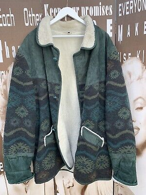 Mens Vintage Wool Jacket Suedette Navajo Quirky Zany Unisex 5XL Chest 56 • 35.99£