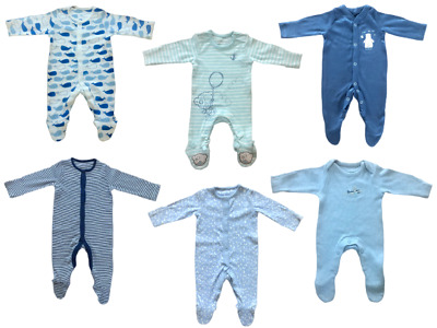 Ex Mothercare Babies Boy's Baby Boy Babygrow Toddler Cotton Button Sleepsuit • 4.95£