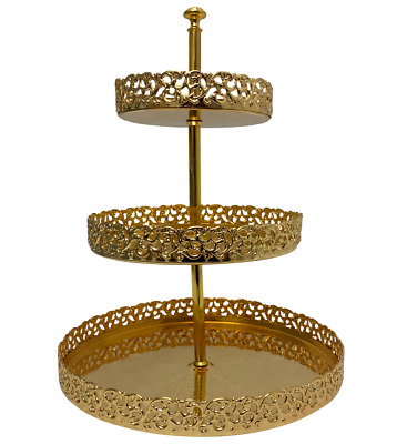£24.99 • Buy 3 Tier Gold Plated Cake Stand Serving Platter Paandan Afternoon Tea Baking