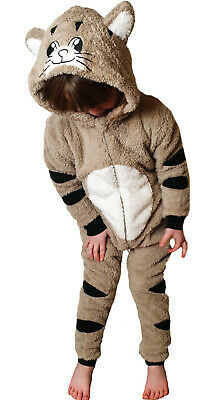 Boys Or Girls CAT WITH TAIL 0nesie Animal Costume BEST QUALITY Kids Age 2 - 13 • 20£