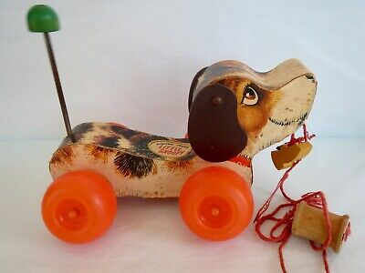 VINTAGE 1960's FISHER PRICE  LITTLE SNOOPY  DOG PULL STRING TOY • 18.24£