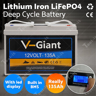 AU599 • Buy Real 135AH Lithium Iron LiFePo4 Deep Cycle Rechargeable Battery 14.5KG--AU STOCK