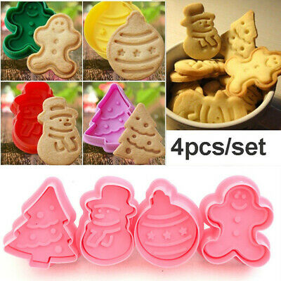 4Pcs Christmas Cookie Biscuit Plunger Cutter Mould Fondant Cake Mold Baking UK • 4.49£