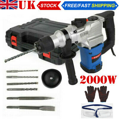 View Details 2000W Electric Hammer Drill 2 Chisels Demolition Rotary Chuck SDS Plus Bit Set  • 58.98£
