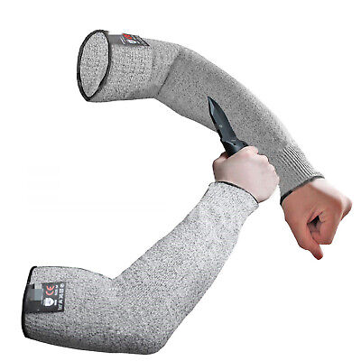 Pair Of Safety Arm Sleeve LV5 Protect Anti Cut Slash Hands Long Protector Gloves • 8.39£