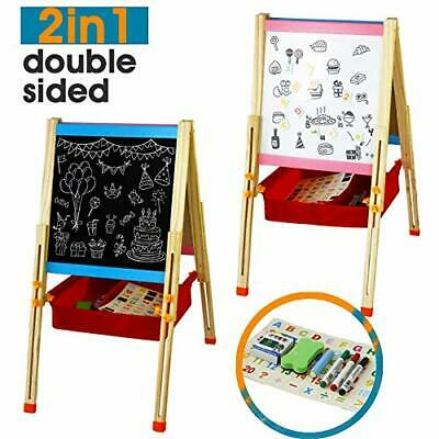 Easel Kids Double Sided Painting-White Board&Chalkboard With Adjustable Stand • 58.87£