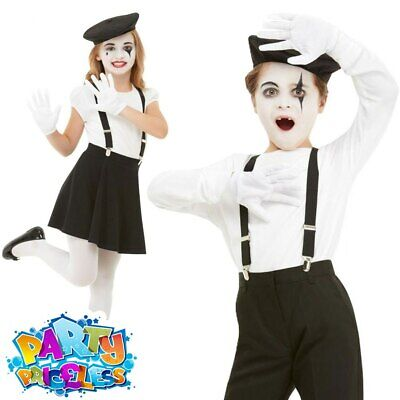 Kids Mime Artist Costume Kit Boys Girls French Circus Fancy Dress Outfit  • 8.99£