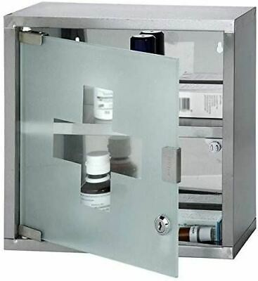 Wall Mounted Lockable Stainless Steel Medicine Cabinet First Aid Cupboard Box • 16.49£
