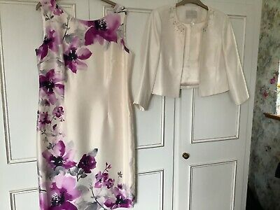 Jacques Vert Size 14/16 Beaded Ivory Dress And Jacket Wedding/Occasion  • 75£