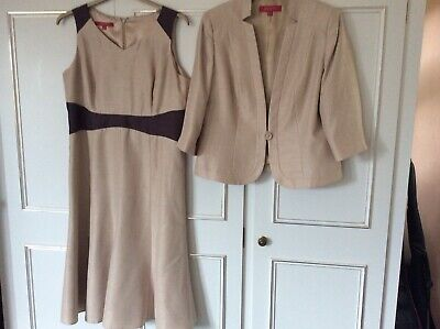 Jacques Vert Size 14/16 Beige/Brown Dress And Jacket Wedding/Occasion • 40£