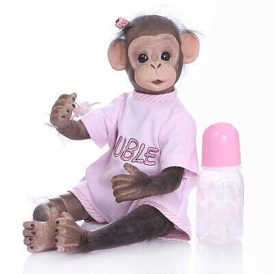 16 /40cm Realistic Reborn Baby Monkey Girl Dolls Soft Silicone VinylToys For Kid • 49.99£