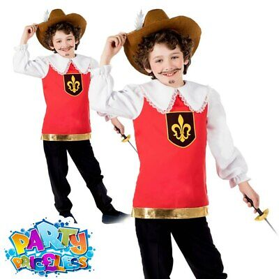 Kids Boys Musketeer Costume Medieval French Book Week Day Fancy Dress Outfit  • 11.99£