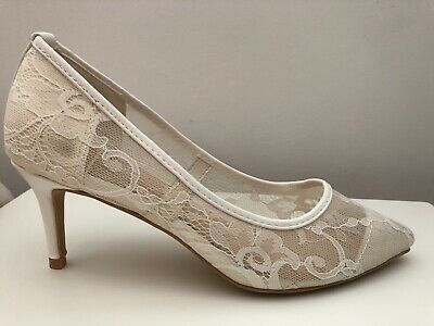 Bridal Shoes Size 5 Wide Fit Ivory White Lace Kitten Heel Pointed Wedding Court • 18£