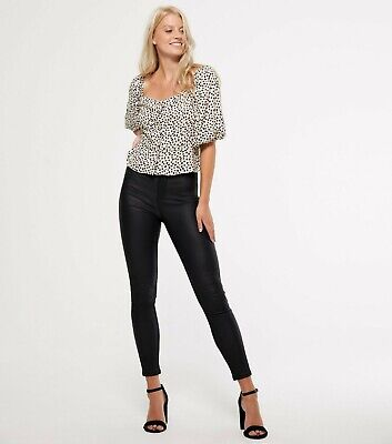 New Look Black Leather-Look Hallie Super Skinny High Waist Jeans Size 4 To 20 • 12.99£