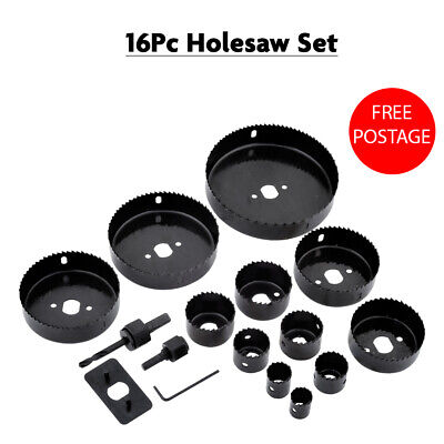 £8.49 • Buy 16Pc Down Lights Hole Cutter Saw Hole Saw Kit Set In Plastic Moulded Case