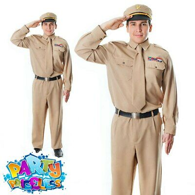 Adult Mens WW2 Army General Costume 40s US Soldier GI Uniform Fancy Dress Outfit • 30.99£