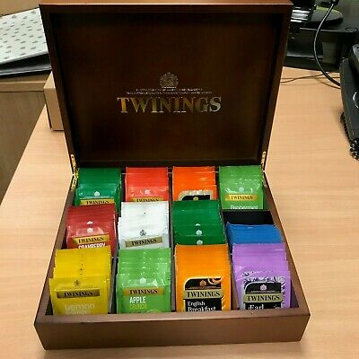 Twinings Luxury 12 Compartment Wooden Tea Chest Box (With Teabags) • 35£