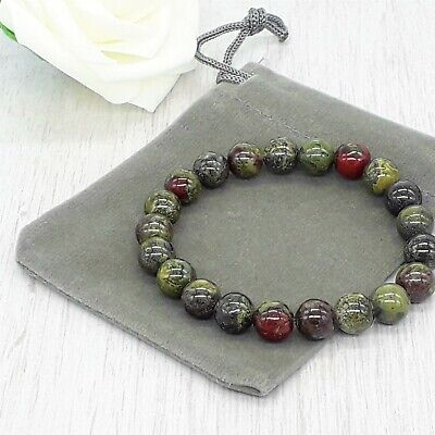 Handmade Natural Dragon Bloodstone Gemstone Stretch Bracelet & Velvet Pouch. • 4.99£