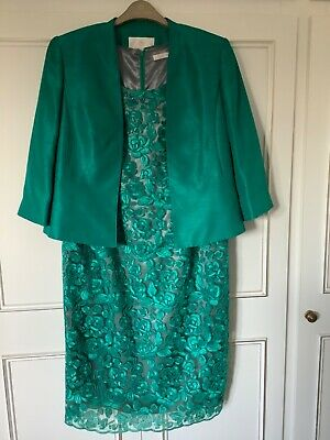 Jacques Vert Size 16 Green Beaded Neckline Dress And Jacket Wedding/Occasion • 65£
