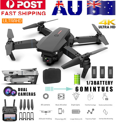 AU58.84 • Buy RC Drone 4K HD Wide Angle Real-Time Camera Wifi FPV Live Foldable Quadcopter