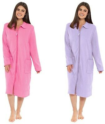 Ladies Zip Front Soft Fleece  Dressing Gown Robe Plus Size UK 10 - UK 24 • 18.99£