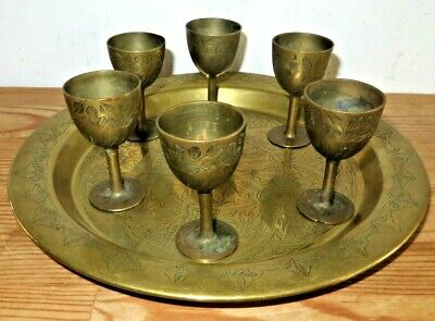 Vintage Indian Engraved Pattern Etched Brass Plate Tray & 6 Small Goblets • 14.99£