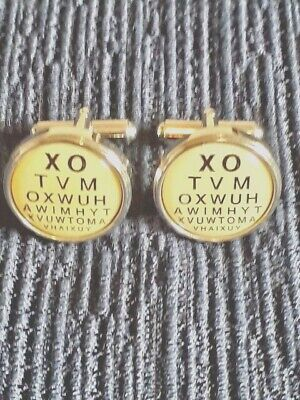 Novelty Cuff Links ~ Opticians Eye Test Chart  Cuff Links ~ Bnwob • 6.10£