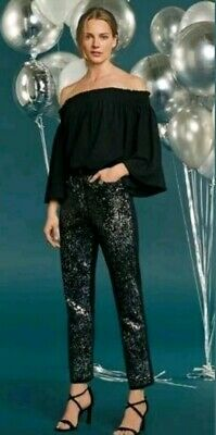 BNWT NEXT Size 8 BLACK STRAIGHT LEG SEQUIN FRONT JEANS,£40,Stretchy, Party,Club • 15£